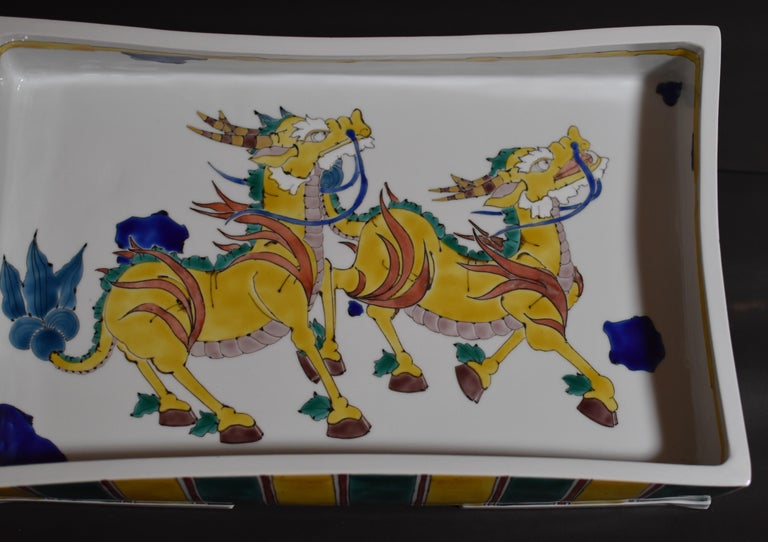 Large Contemporary Yellow Kutani Porcelain Centerpiece by Master Artist Japan In New Condition For Sale In Vancouver, CA