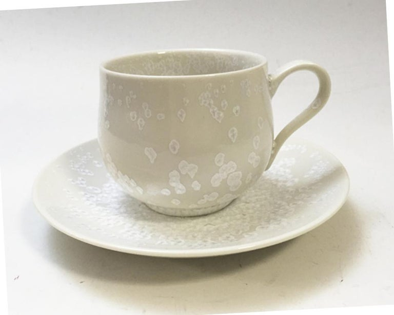 Contemporary Imari Glazed Yellow Porcelain Cup and Saucer by Master Artist In New Condition For Sale In Vancouver, CA