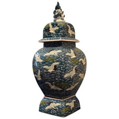Japanese Massive Three-Piece Blue Imari Lidded Temple Jar by Master Artist, 2016
