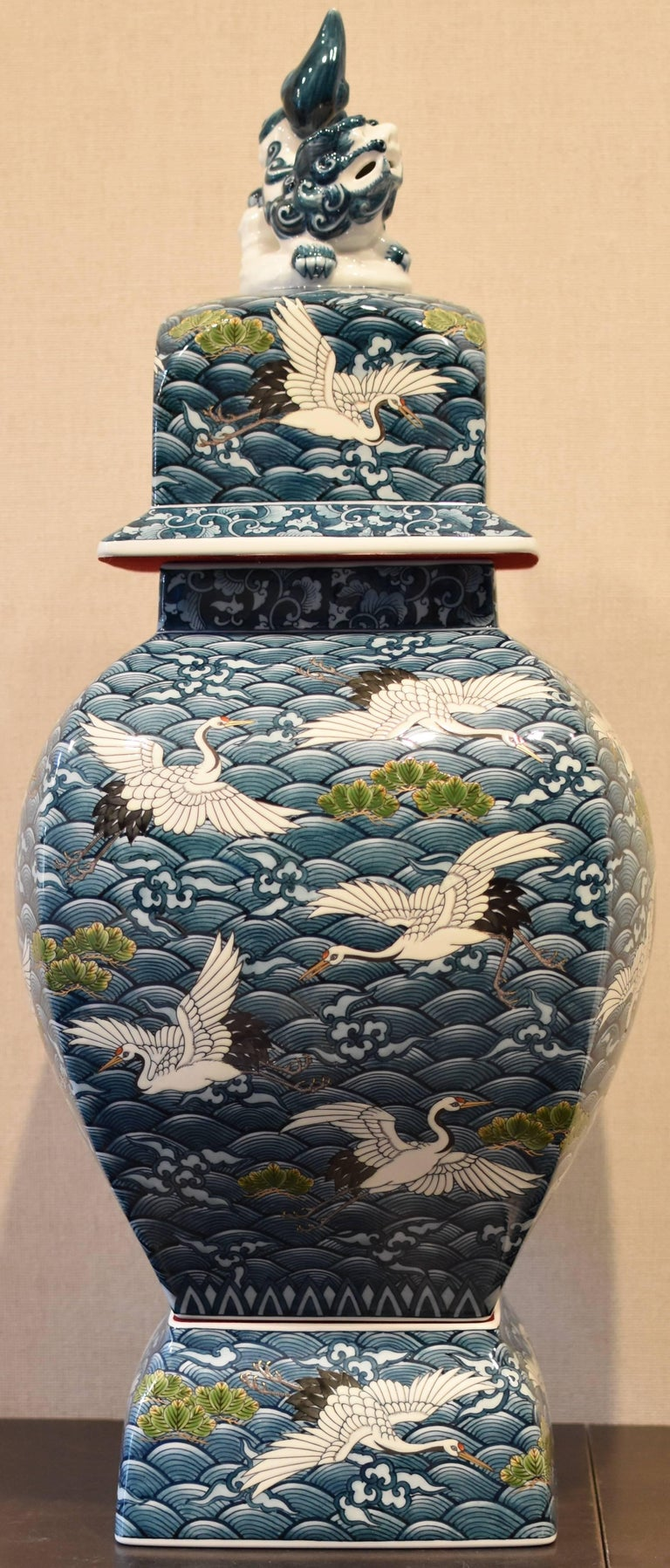 Unique extraordinary three-piece lidded Imari Porcelain temple jar, a contemporary masterpiece by highly acclaimed award-winning Japanese master porcelain artist of the Imari-Arita region of Japan.