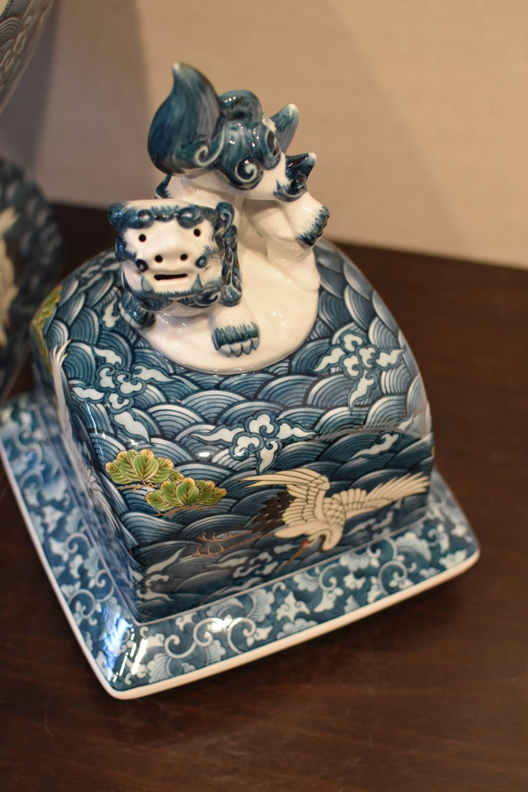 Hand-Painted Japanese Massive Three-Piece Blue Imari Lidded Temple Jar by Master Artist, 2016 For Sale