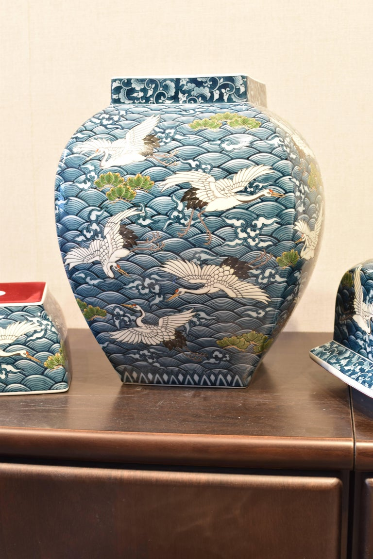 Contemporary Japanese Massive Three-Piece Blue Imari Lidded Temple Jar by Master Artist, 2016 For Sale