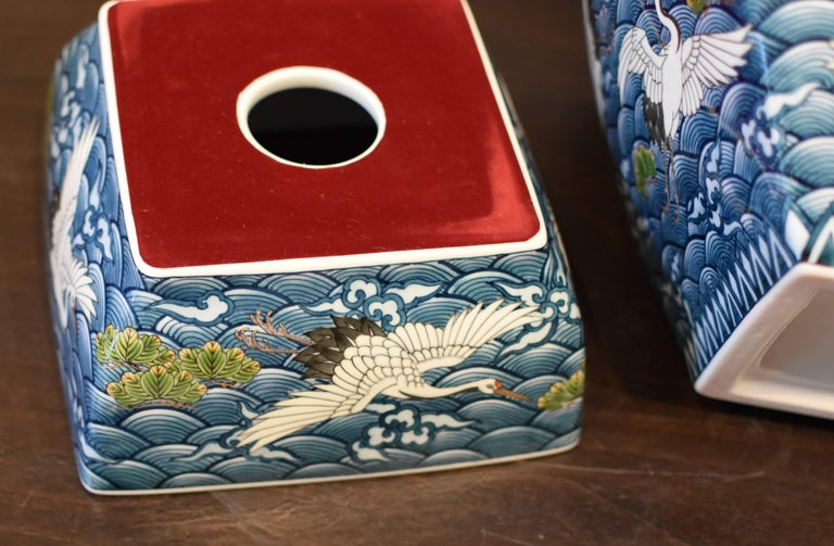 Porcelain Japanese Massive Three-Piece Blue Imari Lidded Temple Jar by Master Artist, 2016 For Sale