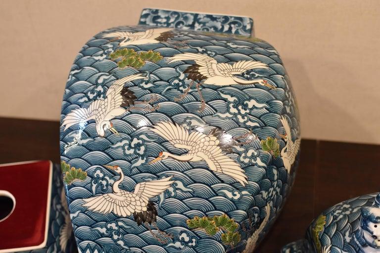 Japanese Massive Three-Piece Blue Imari Lidded Temple Jar by Master Artist, 2016 For Sale 1