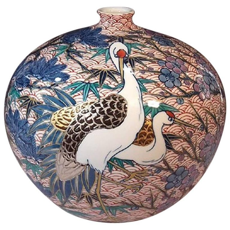 Japanese Contemporary Gilded Red Blue Porcelain Vase by Master Artist For Sale