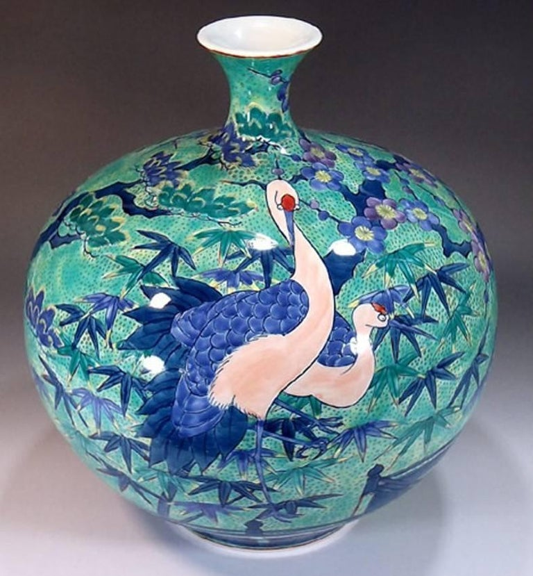 Japanese Contemporary Gilded Red Blue Porcelain Vase by Master Artist In New Condition For Sale In Vancouver, CA