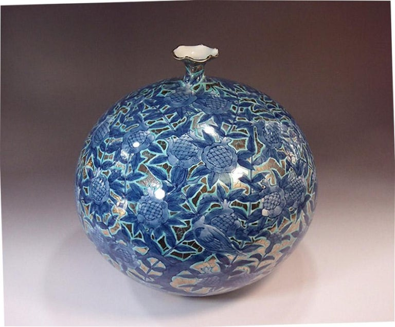Gold Japanese Contemporary Gilded Red Blue Porcelain Vase by Master Artist For Sale