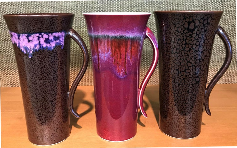 Set of Japanese Tall Hand Glazed Porcelain Mug Cups and Plates by Master Artist For Sale 3