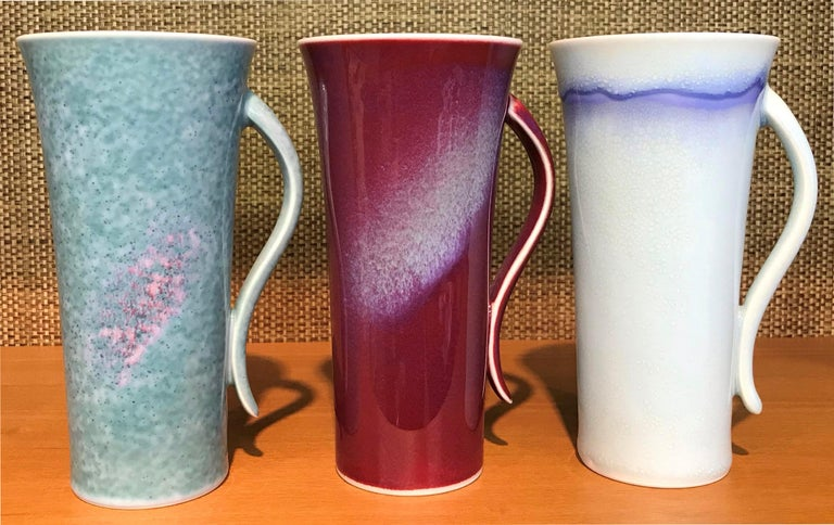 Set of Japanese Tall Hand Glazed Porcelain Mug Cups and Plates by Master Artist For Sale 2