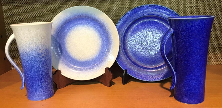 Set of Japanese Tall Hand Glazed Porcelain Mug Cups and Plates by Master Artist For Sale 5