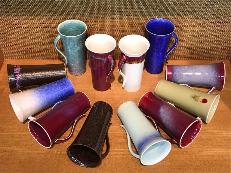 Set of Japanese Tall Hand Glazed Porcelain Mug Cups and Plates by Master Artist For Sale 4