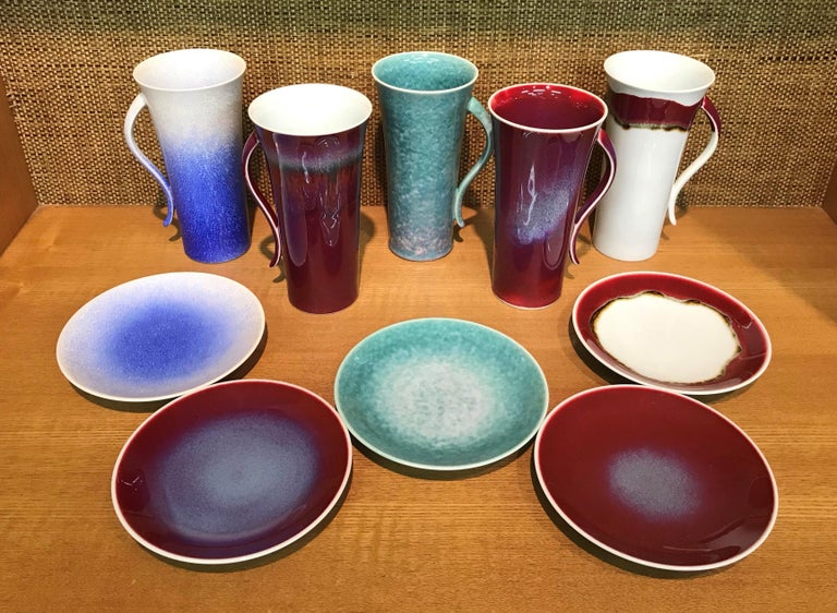 Set of Japanese Tall Hand Glazed Porcelain Mug Cups and Plates by Master Artist In New Condition For Sale In Vancouver, CA