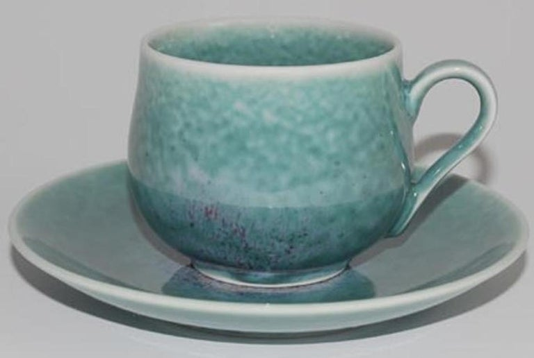 Japanese Hand-Glazed Brown Porcelain Cup and Saucer by Master Artist For Sale 2