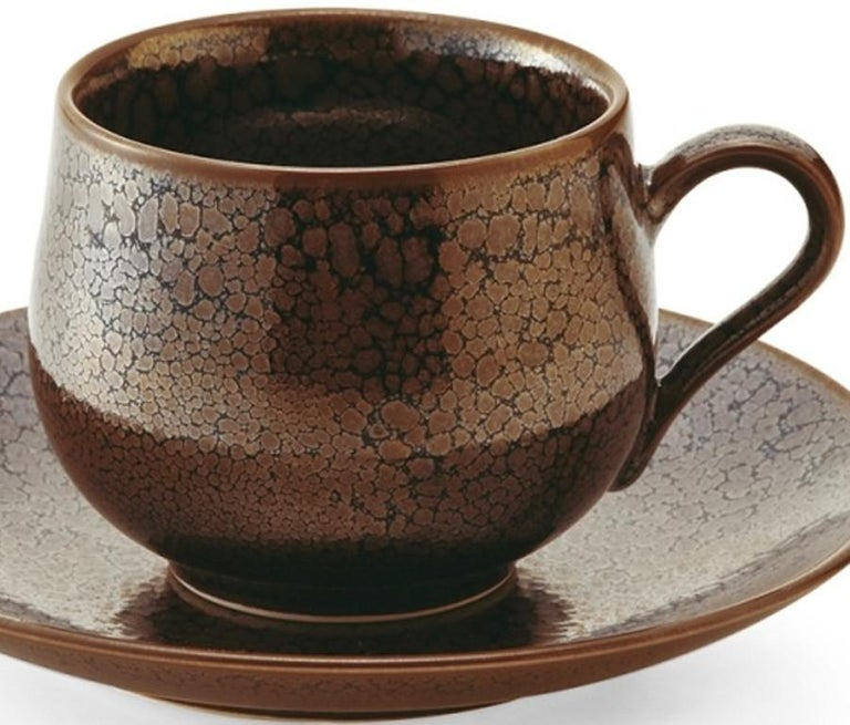 Japanese Hand-Glazed Brown Porcelain Cup and Saucer by Master Artist In New Condition For Sale In Vancouver, CA