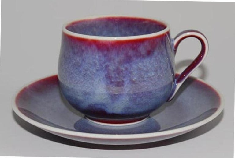 Japanese Hand-Glazed Brown Porcelain Cup and Saucer by Master Artist For Sale 3