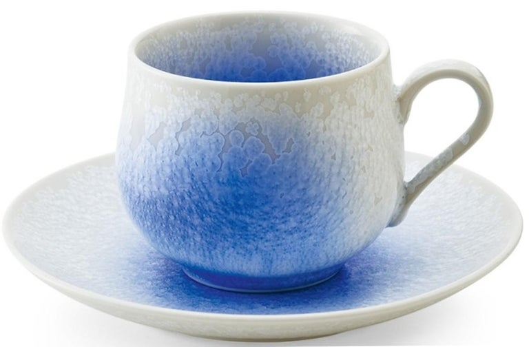 Japanese Hand-Glazed Turquoise Porcelain Cup and Saucer by Master Artist For Sale 2