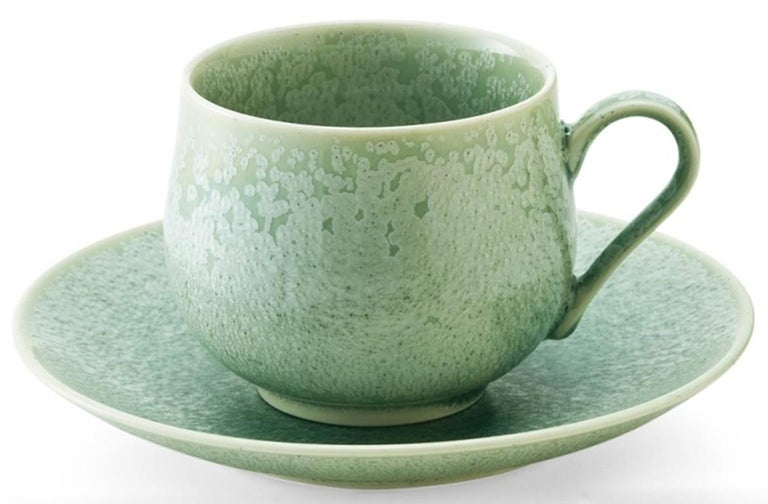 Japanese Hand-Glazed Turquoise Porcelain Cup and Saucer by Master Artist In New Condition For Sale In Vancouver, CA