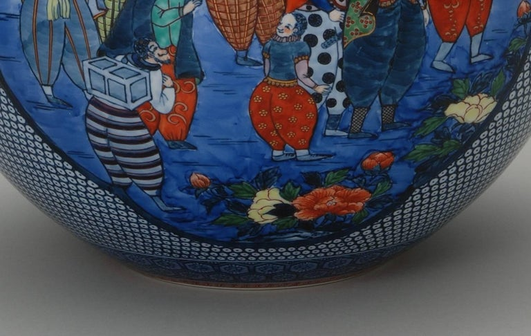 Japanese Large Imari Hand Painted Blue Porcelain Vase by Master Artist, 2018 For Sale 2