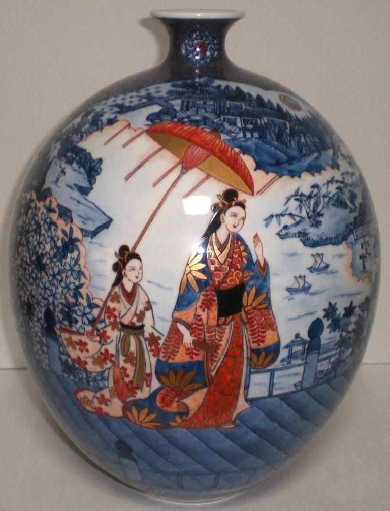Japanese Large Imari Hand Painted Blue Porcelain Vase by Master Artist, 2018 For Sale 4