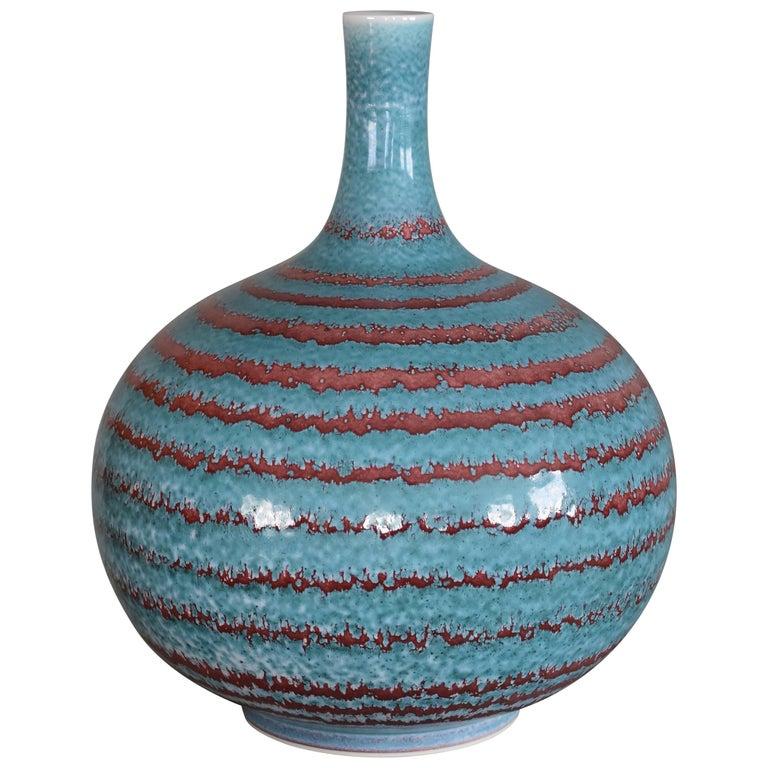 Japanese Large Hand-Glazed Imari Blue Red Porcelain Vase by Master Artist For Sale