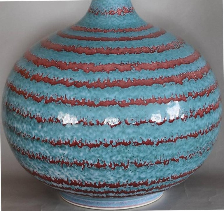 Exceptional unique contemporary very large hand-glazed Japanese decorative porcelain vase in vivid turquoise and wine red, a signed masterpiece by widely respected award-winning master porcelain artist in