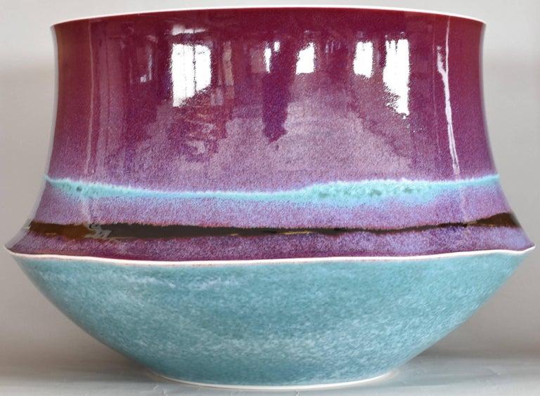 Japanese Large Hand-Glazed Imari Blue Red Porcelain Vase by Master Artist For Sale 3