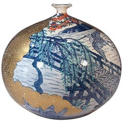 Large Japanese Gilded Hand-Painted Porcelain Vase by Contemporary Master Artist