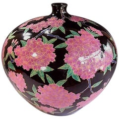 Large Japanese Pink Porcelain Vase Gilded Hand-Painted, by Master Artist