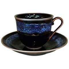 Japanese Hand-Glazed Black Porcelain Cup & Saucer by Contemporary Master Artist
