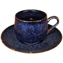 Japanese Blue Hand-Glazed Porcelain Cup and Saucer by Contemporary Master Artist
