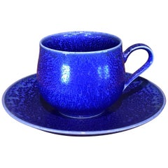 Japanese Blue Hand-Glazed Porcelain Cup and Saucer, Contemporary Master Artist