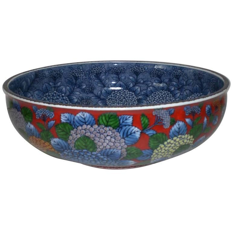 Japanese Red Blue Imari Porcelain Bowl by Contemporary Master Artist For Sale