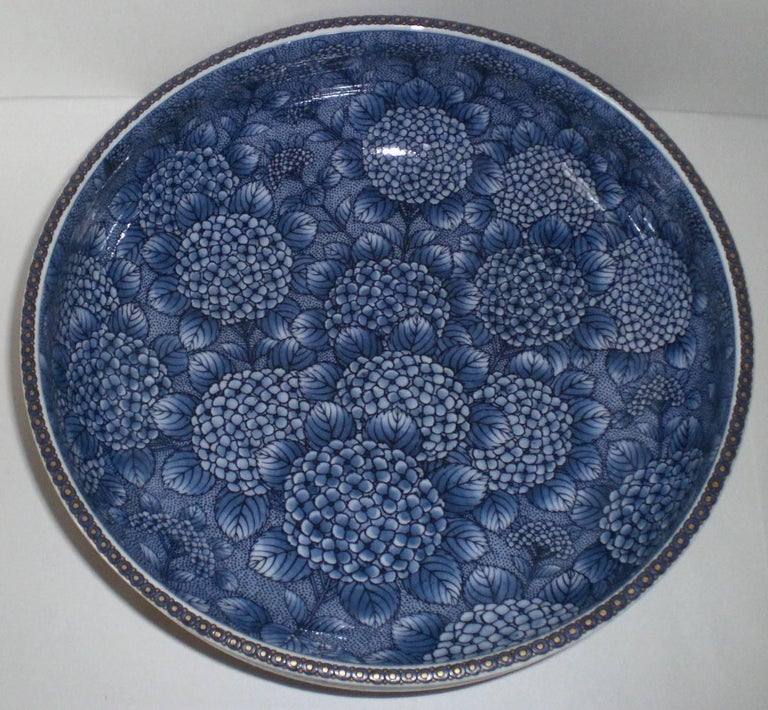 Gilt Japanese Red Blue Imari Porcelain Bowl by Contemporary Master Artist For Sale