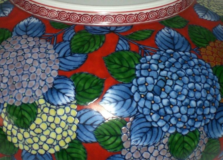 Gold Japanese Red Blue Imari Porcelain Bowl by Contemporary Master Artist For Sale