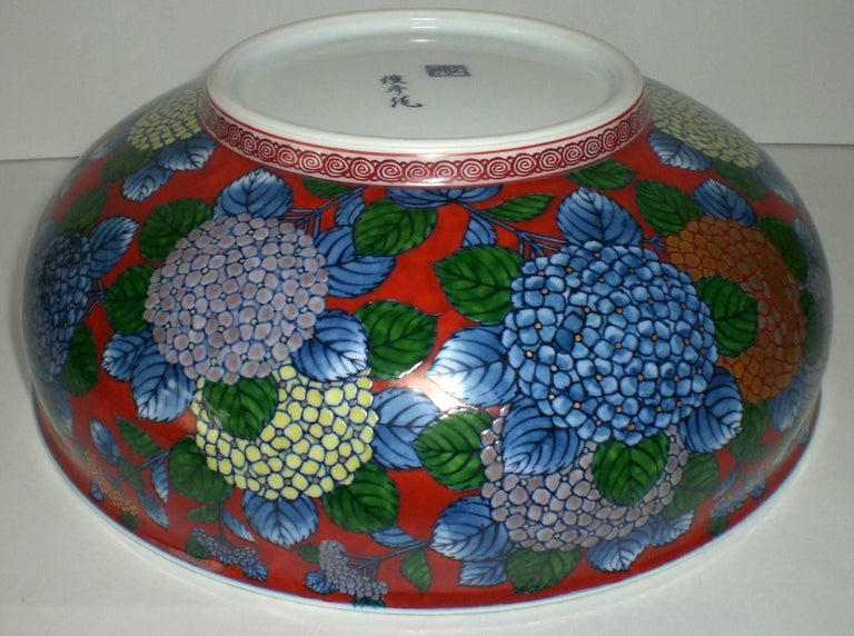 Japanese Red Blue Imari Porcelain Bowl by Contemporary Master Artist For Sale 1