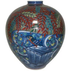 Blue Red White Porcelain Vase by Japanese Master Artist