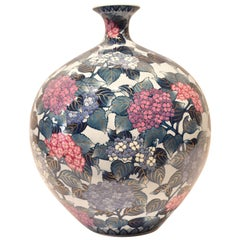 Large Contemporary Japanese Blue Red Imari Porcelain Vase by Master Artist
