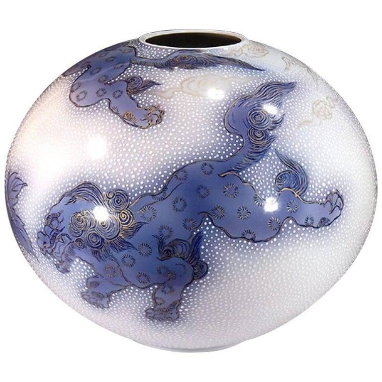 Gilt Japanese Large Gilded Blue White Porcelain Vase by Contemporary Master Artist
