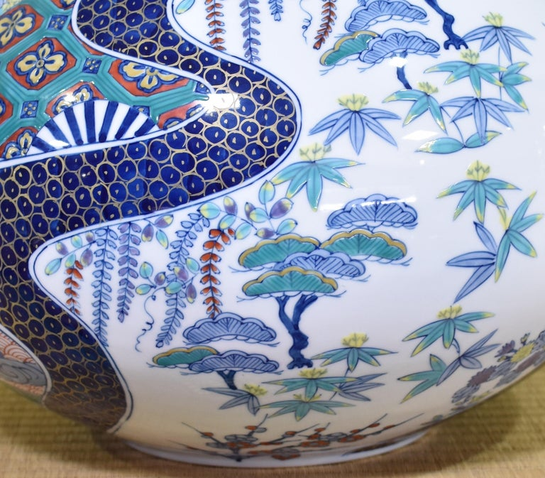 Japanese Large Contemporary Blue Red Porcelain Vase by Master Artist For Sale 2
