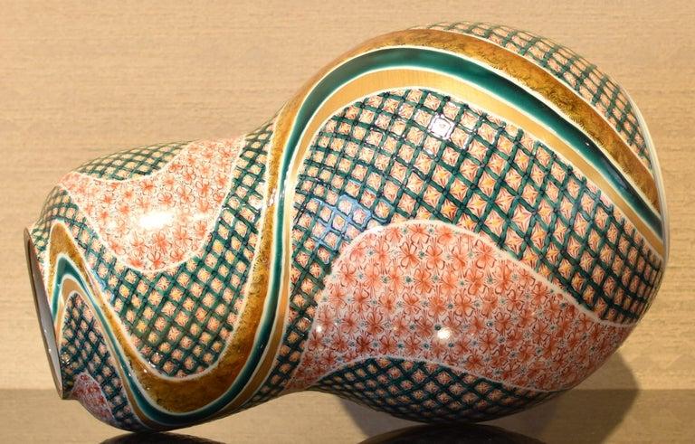 Gilt Large Japanese Contemporary Green Red Kutani Porcelain Vase by Master Artist For Sale