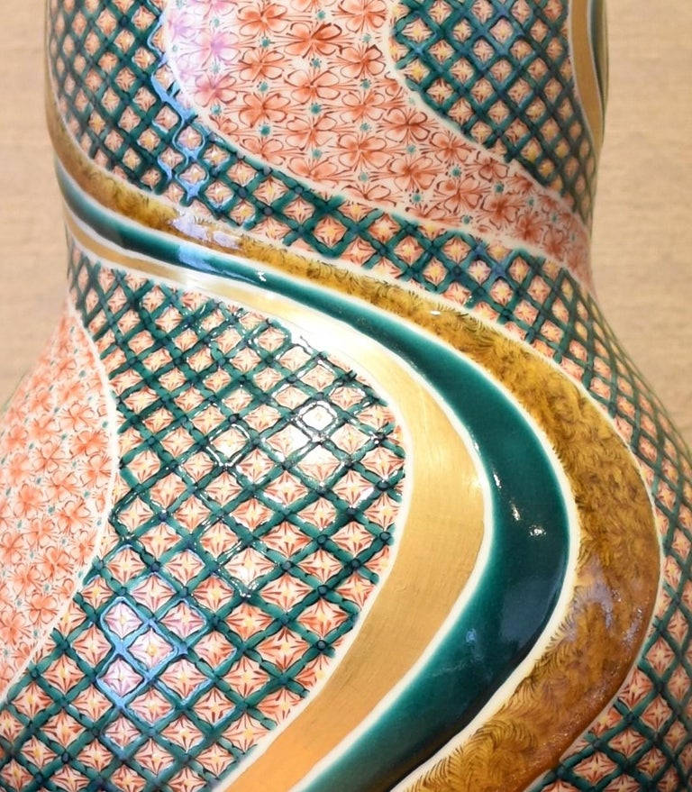 Large Japanese Contemporary Green Red Kutani Porcelain Vase by Master Artist In New Condition For Sale In Vancouver, CA