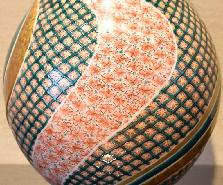 Large Japanese Contemporary Green Red Kutani Porcelain Vase by Master Artist For Sale 3