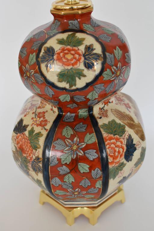 Massive Japanese Vintage Imari Gilded Hand-Painted Porcelain Lamp, Circa 1970 For Sale 2
