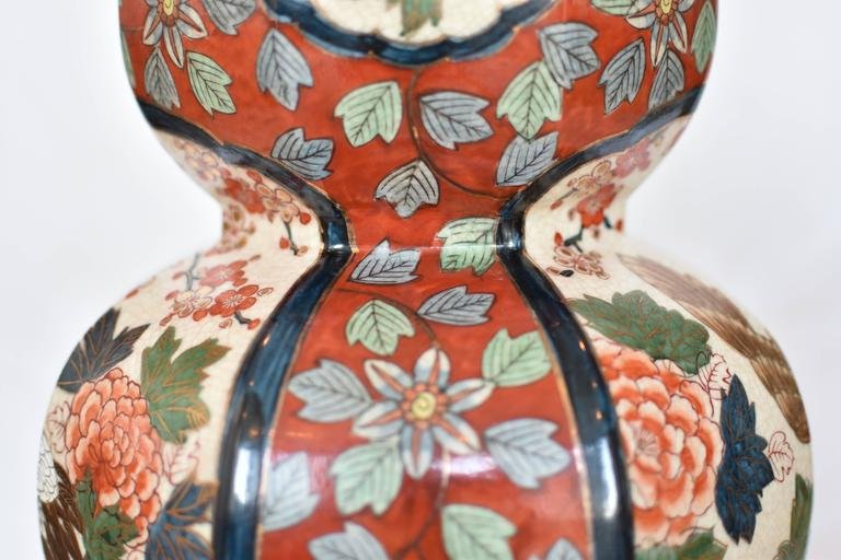 Massive Japanese Vintage Imari Gilded Hand-Painted Porcelain Lamp, Circa 1970 In Excellent Condition For Sale In Vancouver, CA