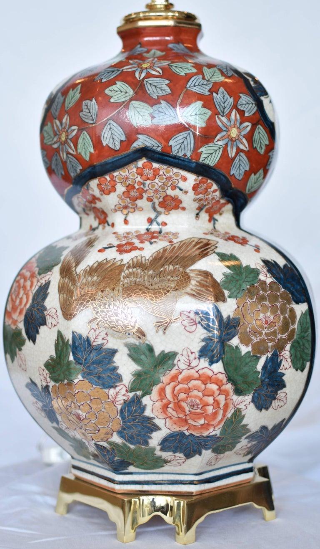 Gilt Massive Japanese Vintage Imari Gilded Hand-Painted Porcelain Lamp, Circa 1970 For Sale