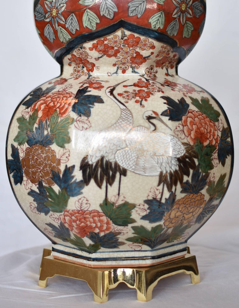 Late 20th Century Massive Japanese Vintage Imari Gilded Hand-Painted Porcelain Lamp, Circa 1970 For Sale