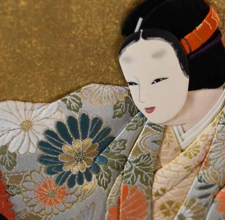 Japanese Traditional  Silk Brocade Wall Decorative Art by Artist, circa 1995 2
