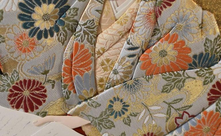 Japanese Traditional  Silk Brocade Wall Decorative Art by Artist, circa 1995 3