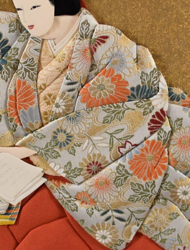 Japanese Traditional  Silk Brocade Wall Decorative Art by Artist, circa 1995 7