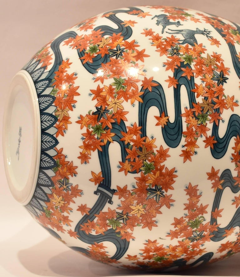 Contemporary Large Japanese Imari Hand-Painted Decorative Porcelain Vase by Master Artist For Sale
